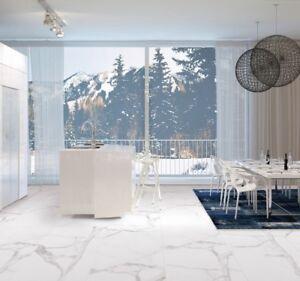 Asia Carrara White Marble Effect Matt Porcelain Wall