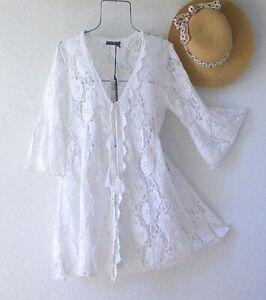 New-White-Crochet-Lace-Peasant-Blouse-Kimono-Cardigan-Duster-Boho-Top-Medium-M
