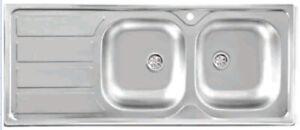 Lavello da incasso per top cucina in acciaio da 116 cm con 2 vasche+ ...