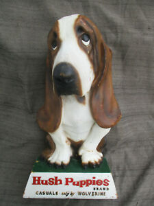 VINTAGE 1960s? HUSH PUPPIES SHOES STORE DISPLAY 3-D SIGN w BASSET HOUND DOG