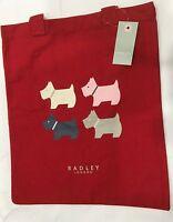 Radley London Red Canvas Quad Dog Tote Book Bag Shoulder Bag Long Handles