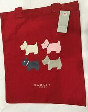 Radley London Red Canvas Quad Dog Tote Book Bag Shoulder Bag Long Handles