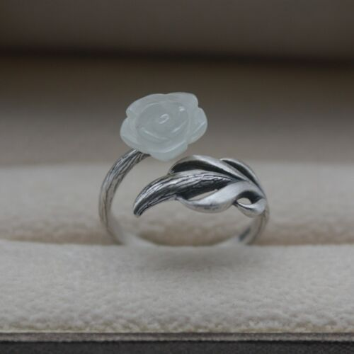 Solid 925 Sterling Silver Ring Natural Nephrite White Jade Open Ring Size 5-8