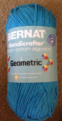 1 skein Bernat Handicrafter Cotton 12oz GEOMETRIC Pumped Up Pink or Intense Blue