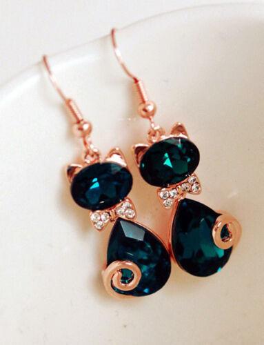 Femmes Bow chat cristal strass oreille Stud boucles d/'oreilles bijoux IY