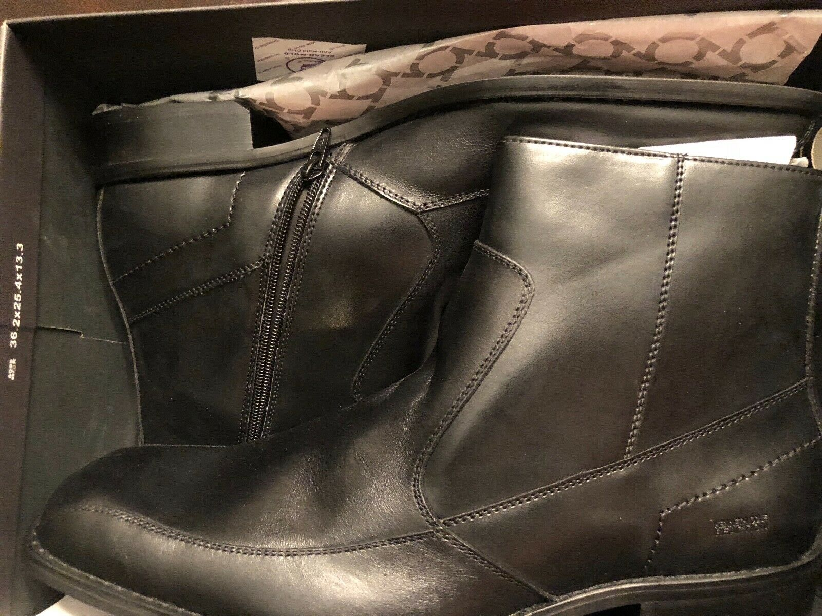 Mens Kenneth Cole East Bound Black Leather Ankle Boots Size 13 Medium Sharp BNIB