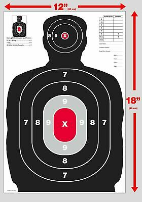 25 Red /& Black  Silhouette gun rifle paper shooting targets 12X18