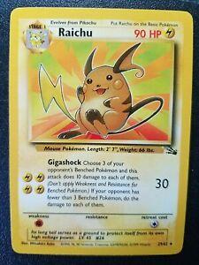 Raichu 29//62 Fossil Set Rare Pokemon Card Near Mint