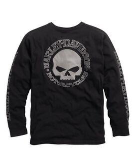 Harley-Davidson Men's Skull Long Sleeve Tee Black Gr. S - Herren Shirt Schwarz