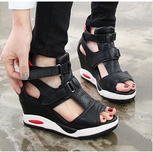 Damenschuhe Open Toe Sports Sneakers Wedges Buckle Plattform Fashion Sandalen