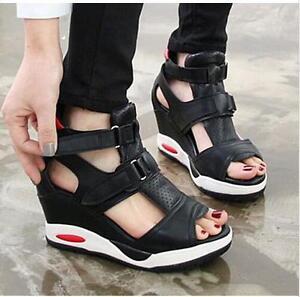 6f83fc2620d Korean Women Peep Toe Sport New Sneakers Wedges Buckle Platform ...
