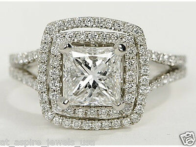 2.00 CT PRINCESS CUT  ENGAGEMENT RING WITH SPLIT SHANK IN STERLING 925 SILVER