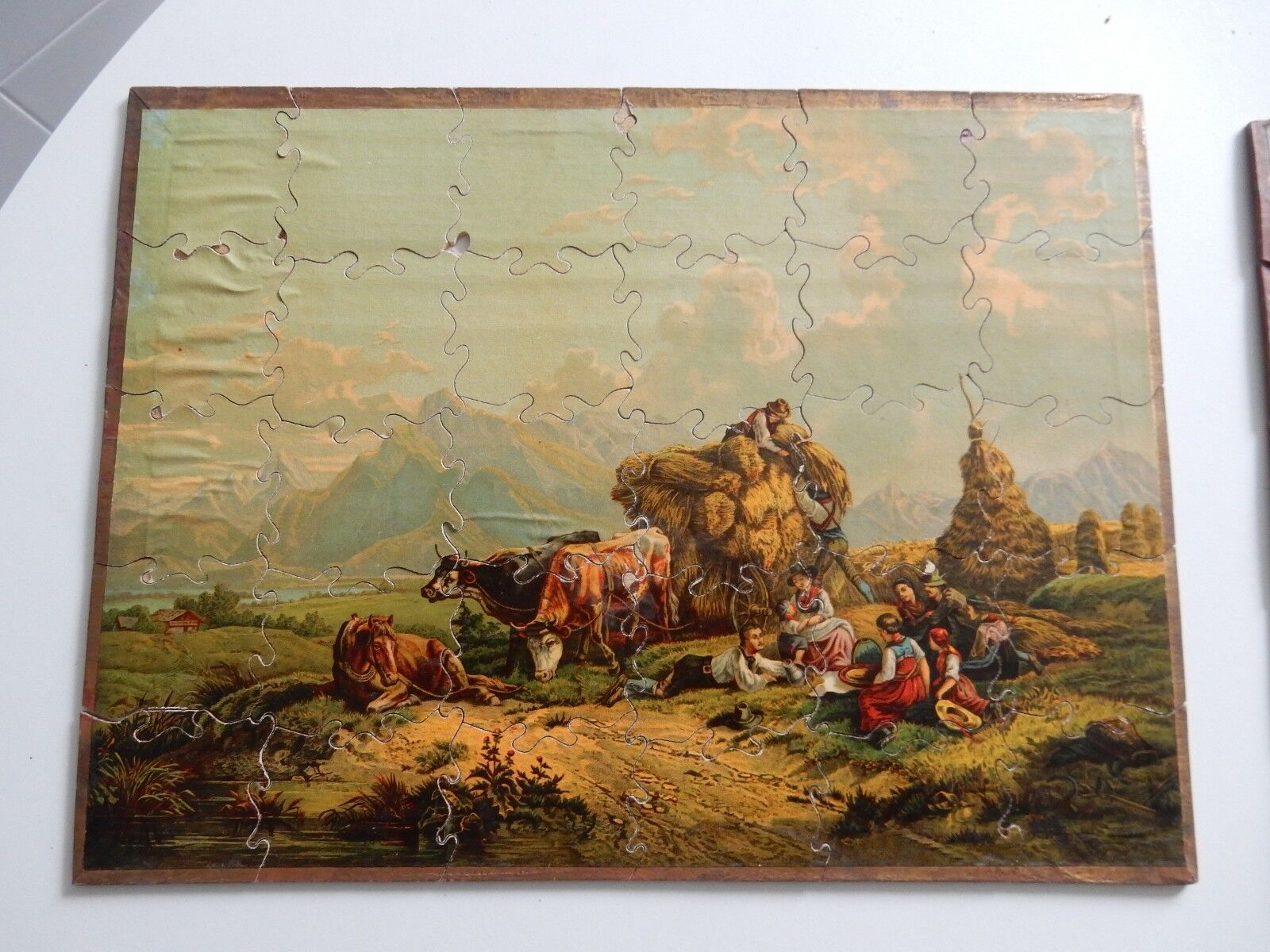 Lithographic wood jigsaw  1870s era  rare item  ALPS AUSTRIA
