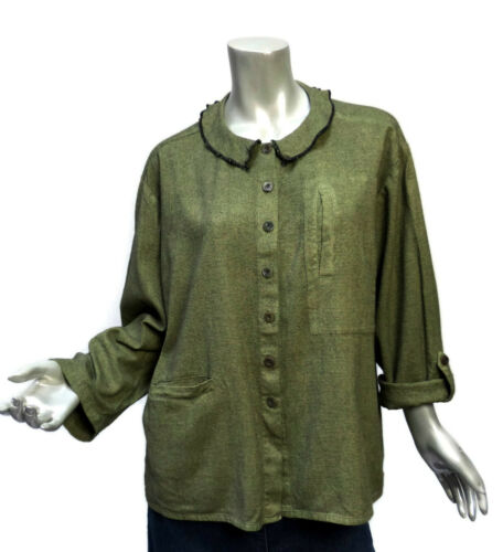 Winter Sun Pocket Top Sz Small Green Peter Pan Col