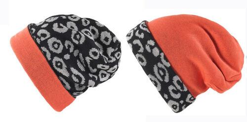 Nouveau nom It Moss Kids hiver Tournant Bonnet Tricot Casquette Beanie Leo gris orange 52 53