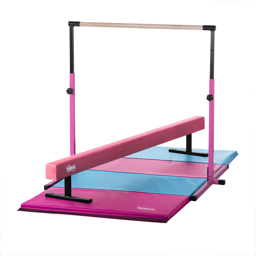 Pink Horizontal Bar Pink Suede Balance Beam Pink Light blueee Gymnastics Mat