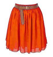 ORANGE | Lady Women Chiffon Mini Skirts Pleated Retro High Waist Double Layer