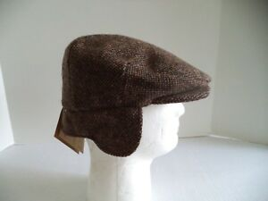 560572d7060a Irish tweed cap brown speckled ear neck flap Hanna Hats Donegal ...