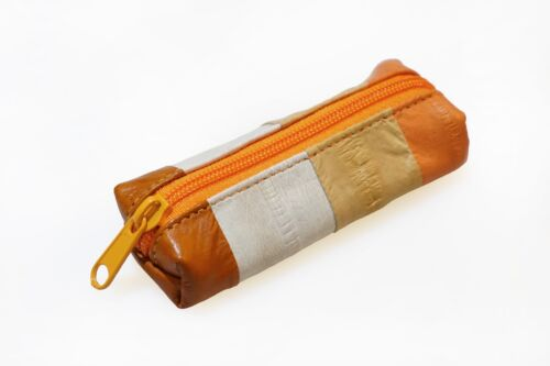 Genuine Eel Skin Leather Lipstick Stamp Case Small Pouch //4 Colors Stripe// Beige