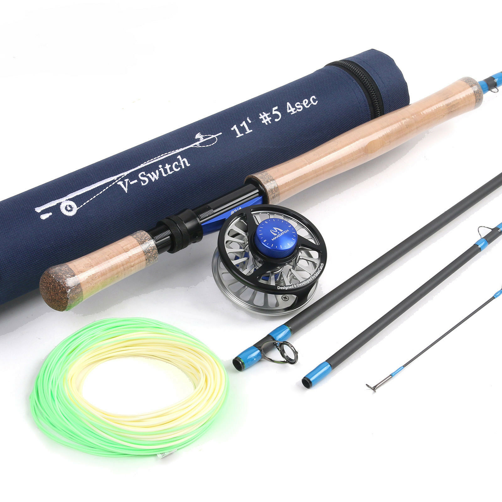 5WT  Fly Fishing Switch Rod 11ft 4Sec with Fly Reel 5 6WT & Fly Fishing Line Kit  classic style