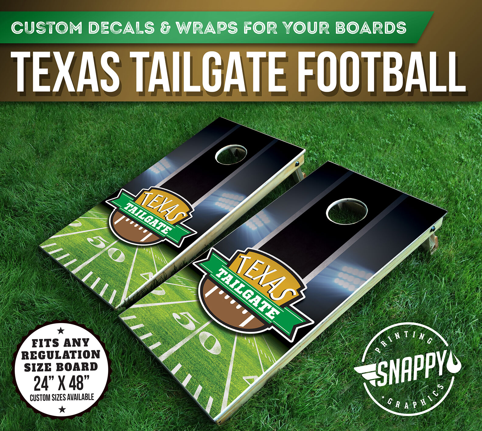 TEXAS TAILGATE CORNHOLE DECALS, Bag Toss Board Wraps, SUPERBOWL 2017 - PAIR