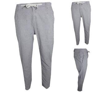 nuovo stile 28991 34e4b Dettagli su pantaloni con elastico da uomo cavallo basso lungo in cotone  grigio 50 52 54 56