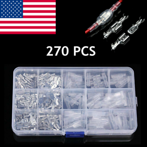 270X Assorted Insulated Electrical Wire Terminal Crimp Connectors Spade Set Kit