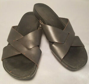 Timberland Casual Sandals Black Leather Slides Slip On