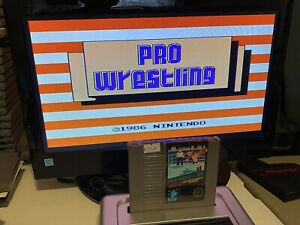 100-WORKING-NINTENDO-NES-RARE-3-SCREW-BLACK-LABEL-Cartridge-PRO-WRESTLING