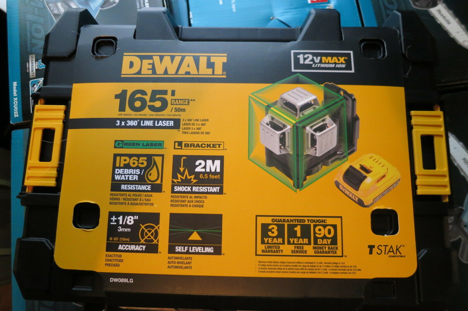 DEWALT DW089LG  12V MAX 3 x 360 Degrees Grün Line Laser DW089LG New