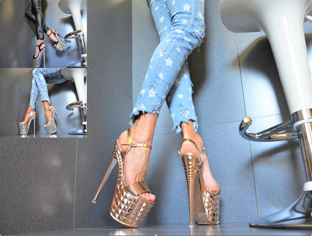 Metallic Women's shoes Club Party Pumps Platform XXXL Gogo High Heels 36 41