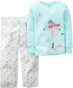 cb0a4e870fd6 Carters Ice Skater Pajamas Toddler Girls Winter Fleece Pajama Set ...