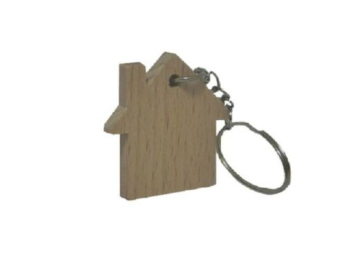 5x Wooden Key Rings Shape House Little Home Shape Wood key ring keychain car