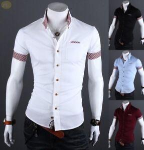 Details About Summer 2018 Camisas Para Hombre De Vestir Elegante De Manga Corta Ropa Colores