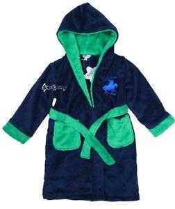 Boys Star Print Dressing Gown Robe Soft Plush Fleece Hooded Fluffy Colourful