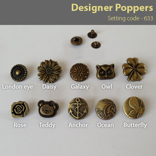 Antique brass 10 Poppers Snap fasteners Press studs Buttons 15-20mm 633