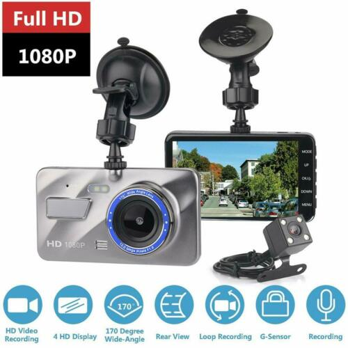 "4/"" 1080P Dual Lens Car Dash Cam Front and Rear Camera DVR Video Recorder UK Sell"
