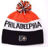 Reebok Kk08z Nhl Team Logo Pom Knit Hockey Hat/beanie - Philadelphia Flyers