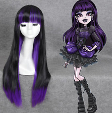 Monster High Elissabat cosplay wig Long Straight flunt bangs black purple Wig+Gi