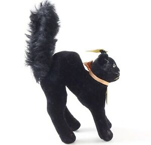 Vintage-Steiff-7410-00-Black-Cat-Standing-4-Long-W-Button-ca-1950s