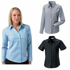 RUSSELL-LADIES-OXFORD-BLOUSE-LONG-amp-SHORT-SLEEVED-SMART-OFFICE-BUSINESS-SHIRT