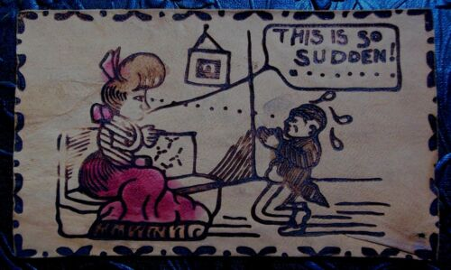 This is So Sudden!Marriage Proposal Lady on CouchAntique VTG LEATHER Postcard