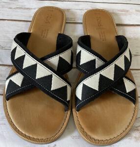 TOMS Women's Black White Straps Open Toe Flat Slip On Sandal Shoes Size W9.5