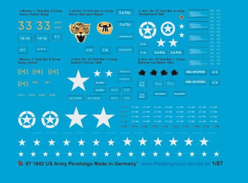 WK und Korea Peddinghaus-Decals 1//87 1042 M 26 Pershing Kampfpanzer 2
