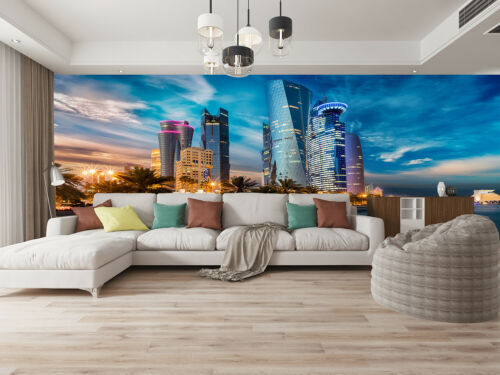 3D The Skyline of City Center Self-adhesive Bedroom Wallpaper Wall Murals Decor