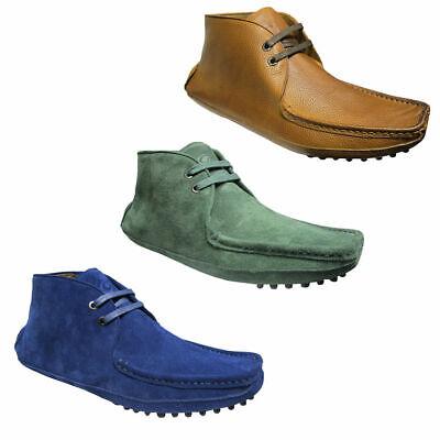 Mens Lambretta Designer Hi Top Suede Lace Up Desert Boots Mod Shoes Size