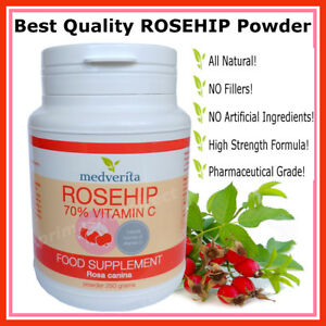 Details About Rosehip Pure Powder 700mg Natural Vitamin C High Strength Formula Cold Flu 250