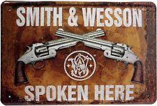 Smith & Wesson Pistole Colt Waffe USA Blechschild 20x30 cm Metallschild 938