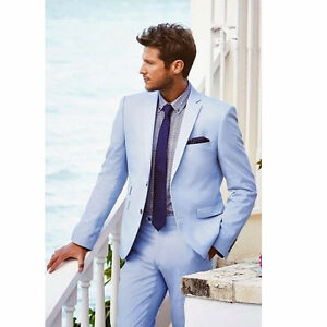 Sky Blue Mens Groom Tuxedo Wedding Suits 2 Piece Slim Fit Groomsman