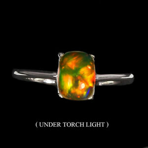 Unheated-Oval-Fire-Opal-Rainbow-Full-Flash-8x6mm-925-Sterling-Silver-Ring